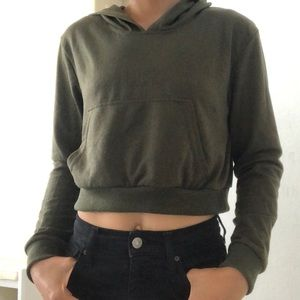 Tops - Olive green cropped hoodie